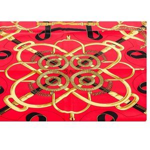 Hermes Red Multicolor Eperon D'Or Silk Scarf